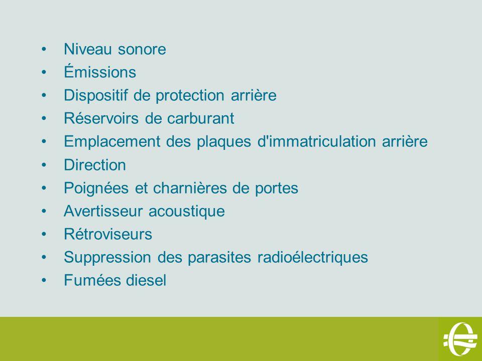 Niveau sonore Émissions Dispositif de protection arrière Réservoirs de carburant Emplacement des plaques d'immatriculation arrière Direction Poignées