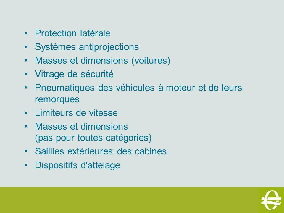Protection latérale Systèmes antiprojections Masses et dimensions (voitures) Vitrage de sécurité Pneumatiques des véhicules à moteur et de leurs remor