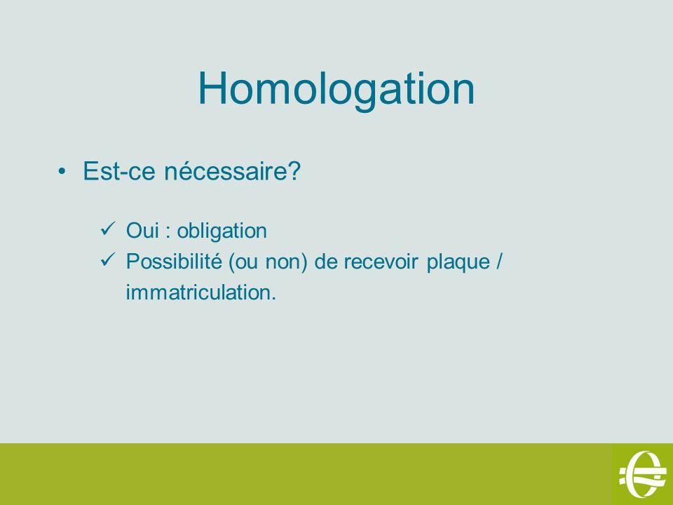 Homologation Est-ce nécessaire? Oui : obligation Possibilité (ou non) de recevoir plaque / immatriculation.