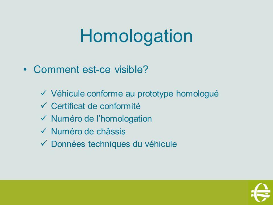 Homologation Comment est-ce visible? Véhicule conforme au prototype homologué Certificat de conformité Numéro de lhomologation Numéro de châssis Donné