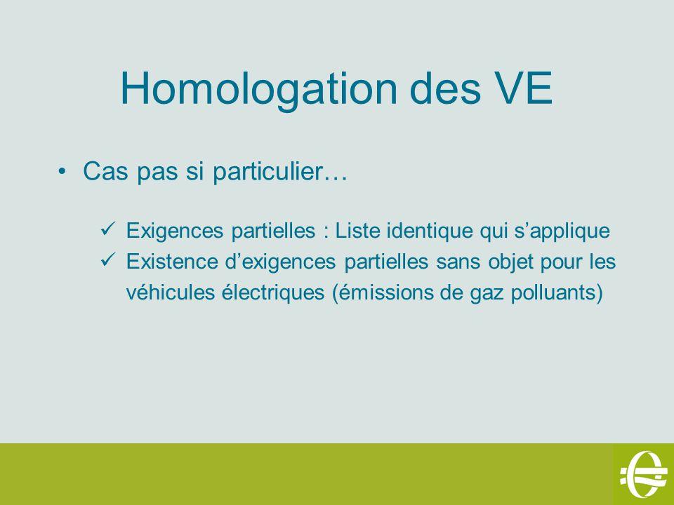 Homologation des VE Cas pas si particulier… Exigences partielles : Liste identique qui sapplique Existence dexigences partielles sans objet pour les véhicules électriques (émissions de gaz polluants)
