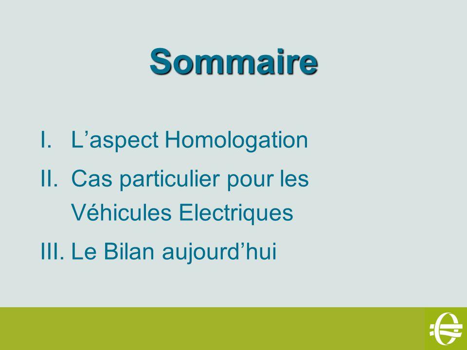 Sommaire I.Laspect Homologation II.Cas particulier pour les Véhicules Electriques III.Le Bilan aujourdhui