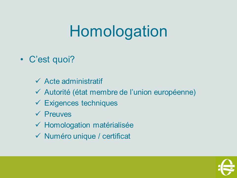 Homologation Cest quoi? Acte administratif Autorité (état membre de lunion européenne) Exigences techniques Preuves Homologation matérialisée Numéro u