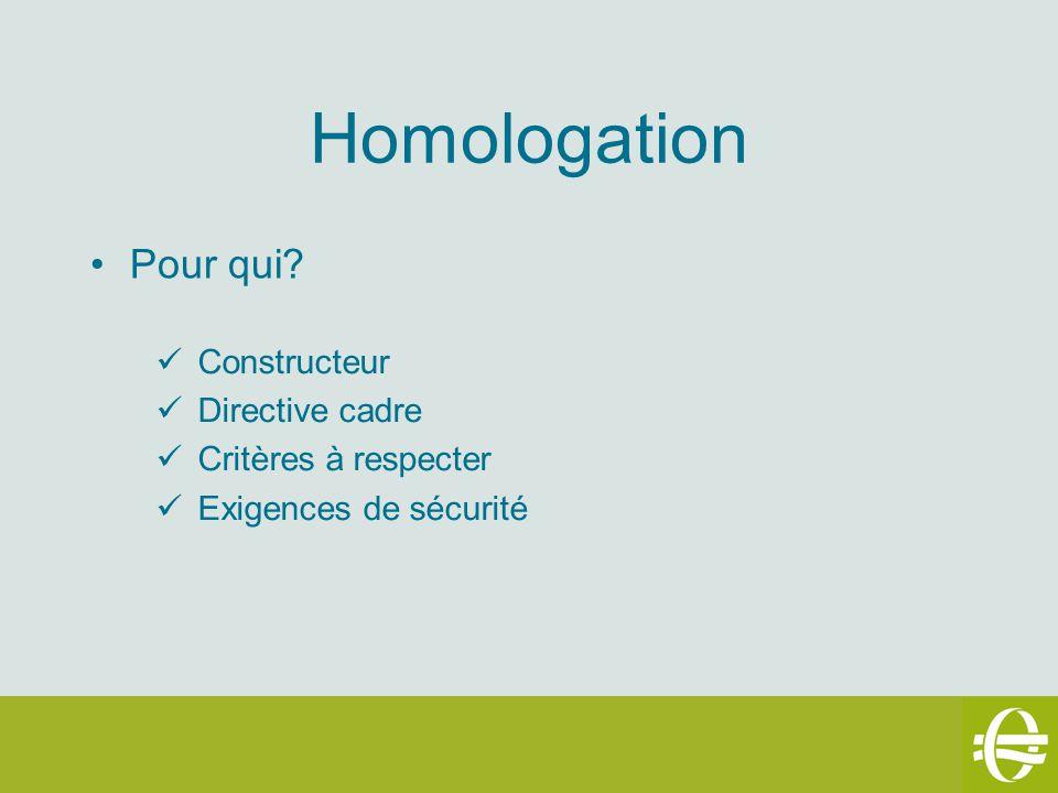 Homologation Pour qui? Constructeur Directive cadre Critères à respecter Exigences de sécurité