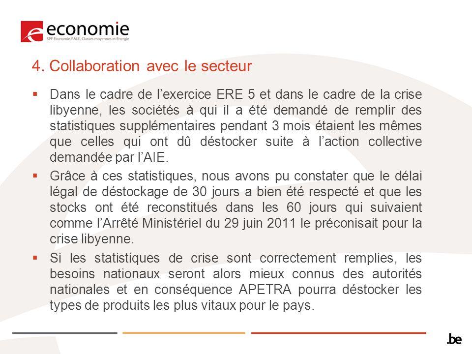 4. Collaboration avec le secteur Dans le cadre de lexercice ERE 5 et dans le cadre de la crise libyenne, les sociétés à qui il a été demandé de rempli
