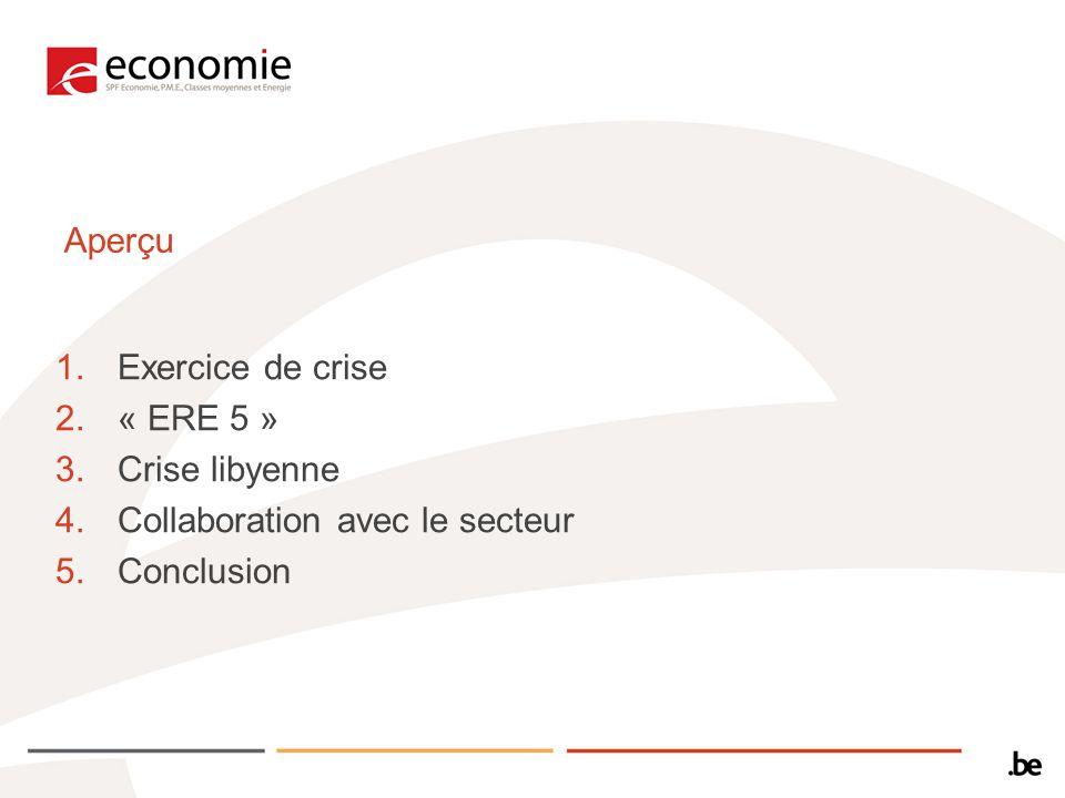 Aperçu 1.Exercice de crise 2.« ERE 5 » 3.Crise libyenne 4.Collaboration avec le secteur 5.Conclusion