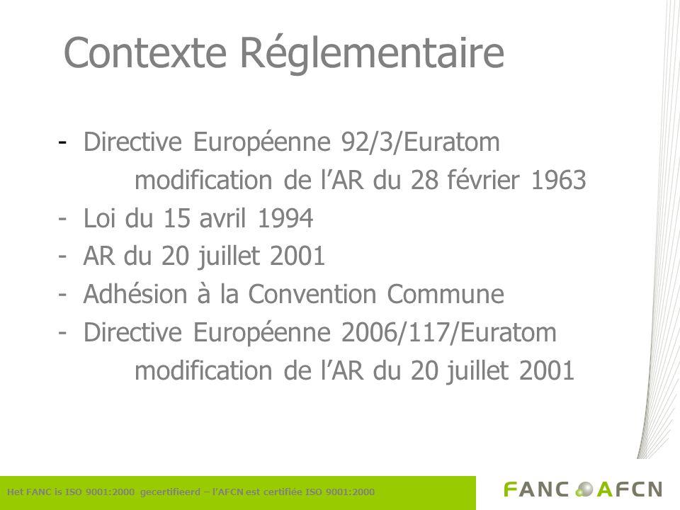 Contexte Réglementaire -Directive Européenne 92/3/Euratom modification de lAR du 28 février 1963 -Loi du 15 avril 1994 -AR du 20 juillet 2001 -Adhésio