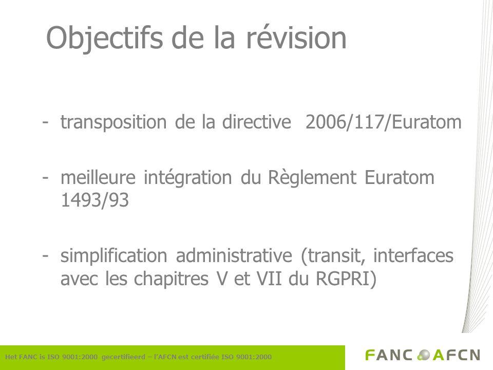 Réalisation/Etat de la situation -rédaction par lAFCN -consultation informelle des parties intéressées -consultation du Conseil supérieur de la Santé -communication à la Commission européenne: pas de commentaires -avis favorable de lInspecteur des Finances Het FANC is ISO 9001:2000 gecertifieerd – lAFCN est certifiée ISO 9001:2000