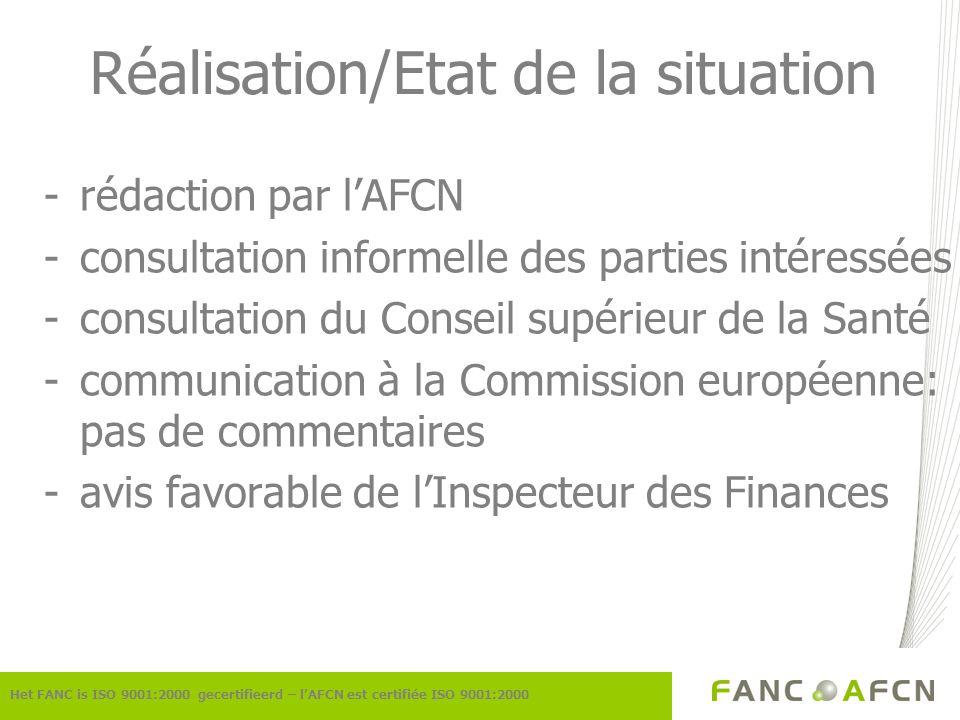 Réalisation/Etat de la situation -rédaction par lAFCN -consultation informelle des parties intéressées -consultation du Conseil supérieur de la Santé