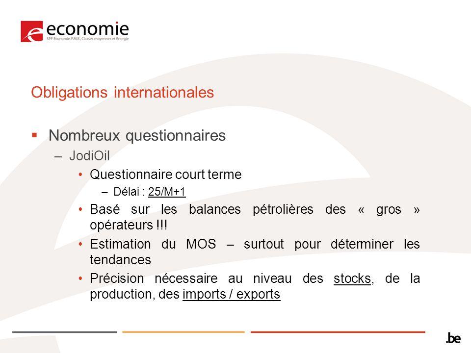 Obligations internationales Nombreux questionnaires –JodiOil Questionnaire court terme –Délai : 25/M+1 Basé sur les balances pétrolières des « gros » opérateurs !!.