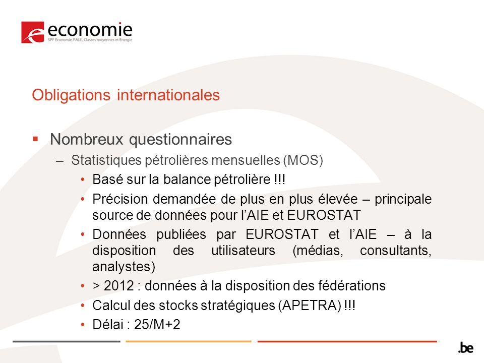 Obligations internationales Nombreux questionnaires –Statistiques pétrolières mensuelles (MOS) Basé sur la balance pétrolière !!.