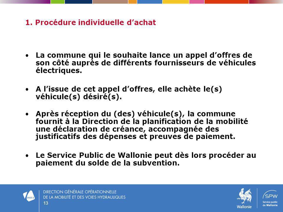 13 1. Procédure individuelle dachat La commune qui le souhaite lance un appel doffres de son côté auprès de différents fournisseurs de véhicules élect