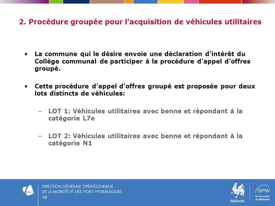 14 2. Procédure groupée pour lacquisition de véhicules utilitaires La commune qui le désire envoie une déclaration dintérêt du Collège communal de par