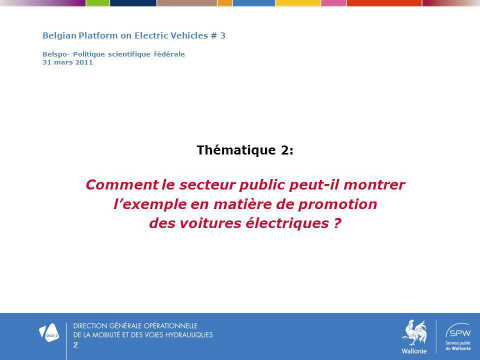 22 Belgian Platform on Electric Vehicles # 3 Belspo- Politique scientifique fédérale 31 mars 2011 Thématique 2: Comment le secteur public peut-il mont