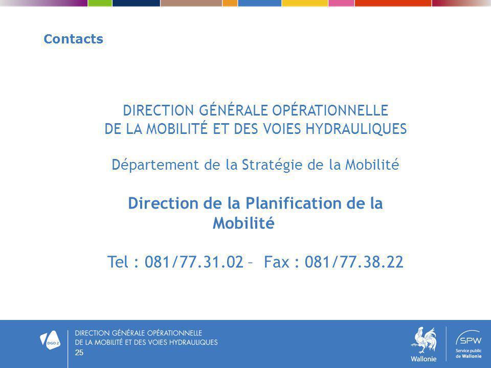 25 Contacts DIRECTION GÉNÉRALE OPÉRATIONNELLE DE LA MOBILITÉ ET DES VOIES HYDRAULIQUES Département de la Stratégie de la Mobilité Direction de la Plan