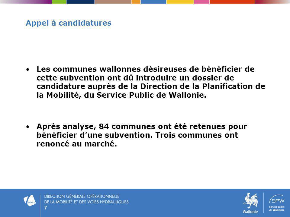7 Appel à candidatures Les communes wallonnes désireuses de bénéficier de cette subvention ont dû introduire un dossier de candidature auprès de la Di