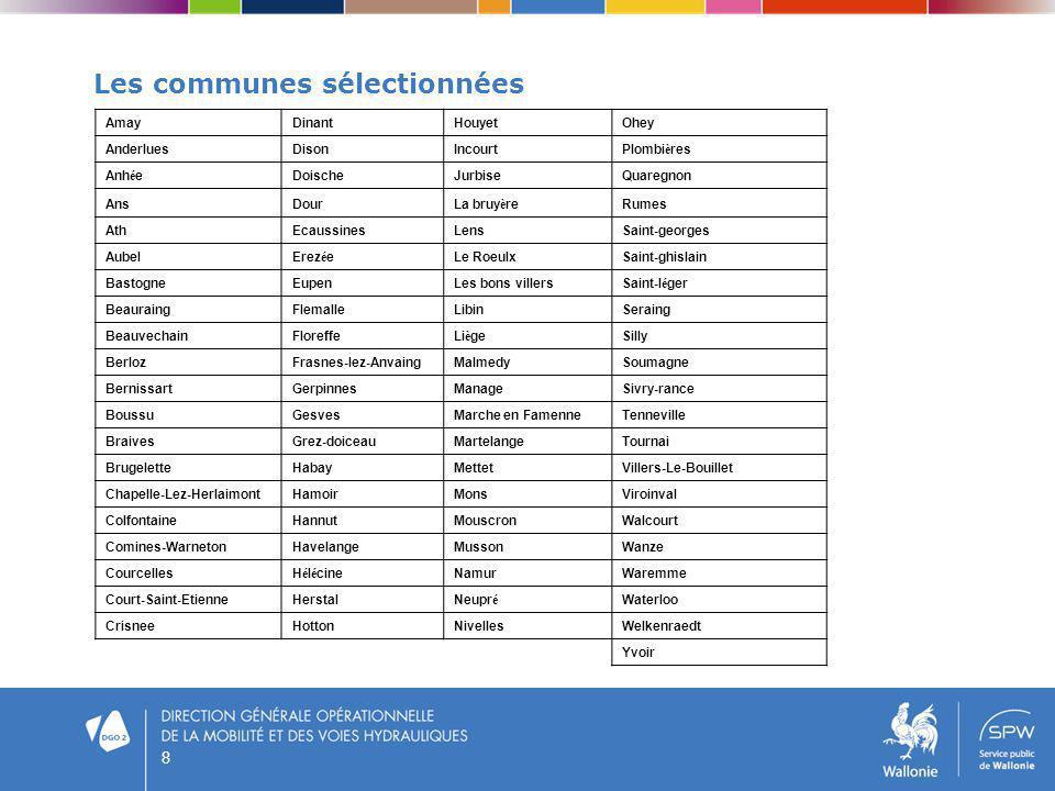 8 Les communes sélectionnées AmayDinantHouyetOhey AnderluesDisonIncourtPlombi è res Anh é eDoischeJurbiseQuaregnon AnsDourLa bruy è reRumes AthEcaussi