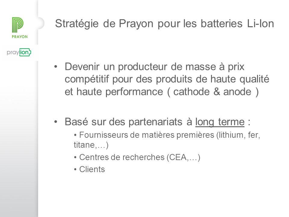 Stratégie de Prayon pour les batteries Li-Ion Devenir un producteur de masse à prix compétitif pour des produits de haute qualité et haute performance