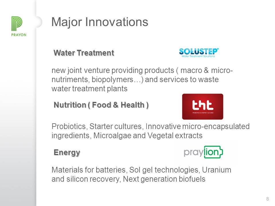 8 Major Innovations Water Treatment new joint venture providing products ( macro & micro- nutriments, biopolymers…) and services to waste water treatm