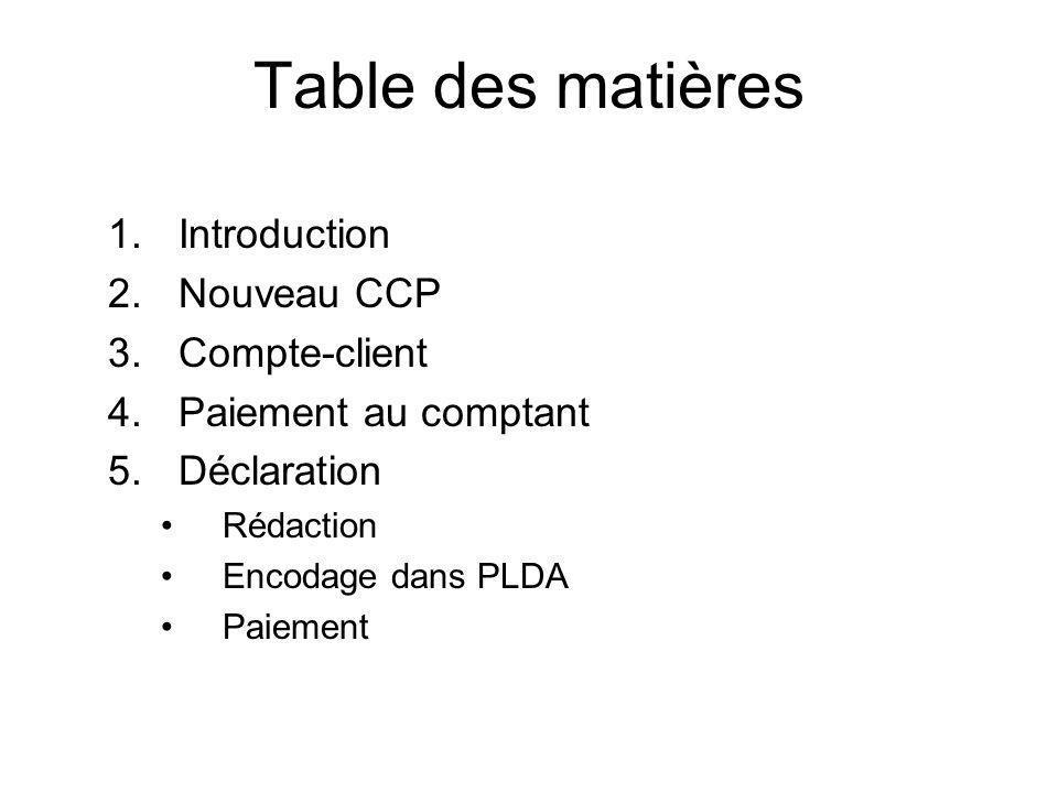 Table des matières 1.Introduction 2.Nouveau CCP 3.Compte-client 4.Paiement au comptant 5.Déclaration Rédaction Encodage dans PLDA Paiement