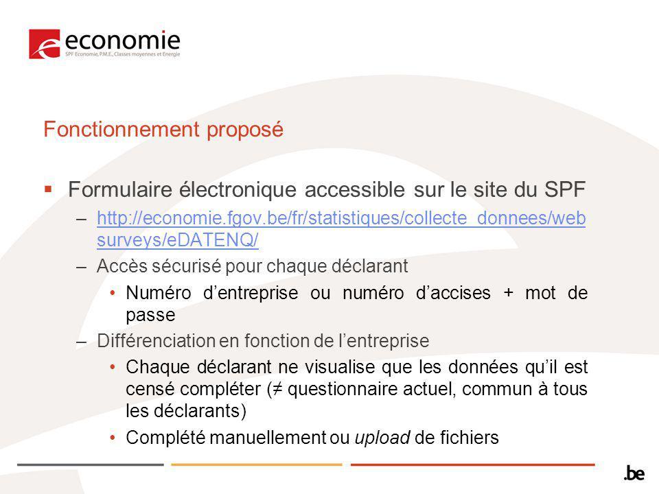 Fonctionnement proposé Formulaire électronique accessible sur le site du SPF –http://economie.fgov.be/fr/statistiques/collecte_donnees/web surveys/eDATENQ/http://economie.fgov.be/fr/statistiques/collecte_donnees/web surveys/eDATENQ/ –Accès sécurisé pour chaque déclarant Numéro dentreprise ou numéro daccises + mot de passe –Différenciation en fonction de lentreprise Chaque déclarant ne visualise que les données quil est censé compléter ( questionnaire actuel, commun à tous les déclarants) Complété manuellement ou upload de fichiers