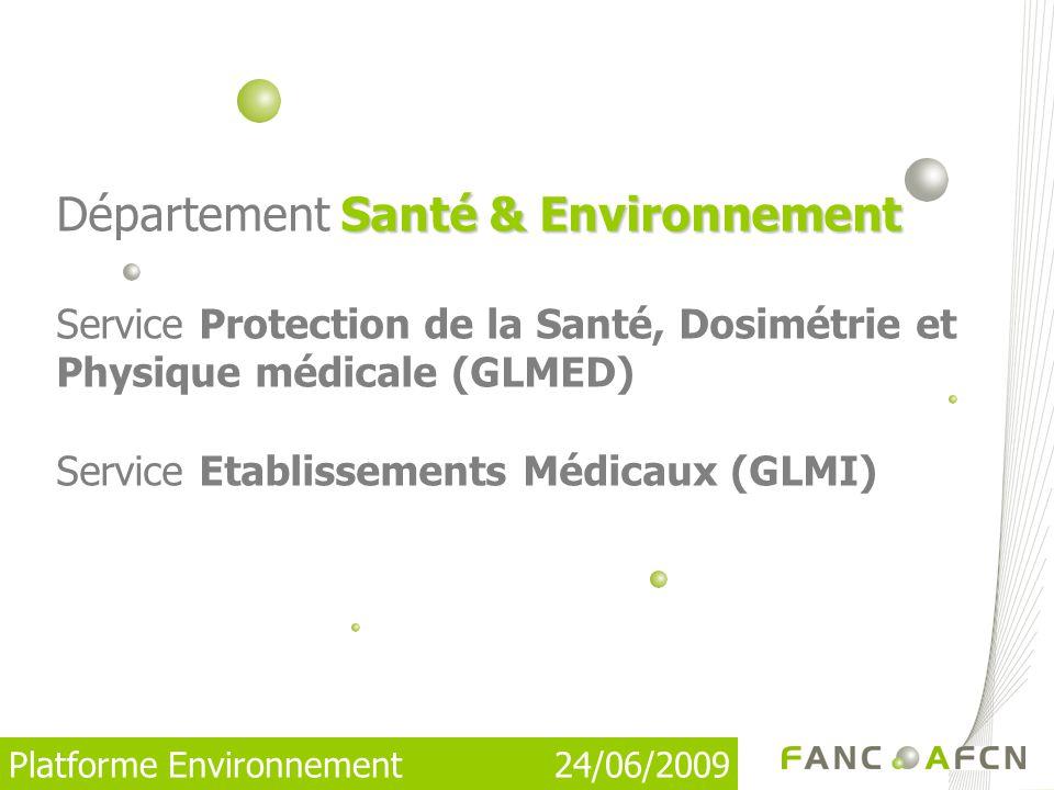 Platforme Environnement 24/06/2009 Santé & Environnement Département Santé & Environnement Service Protection de la Santé, Dosimétrie et Physique médicale (GLMED) Service Etablissements Médicaux (GLMI)