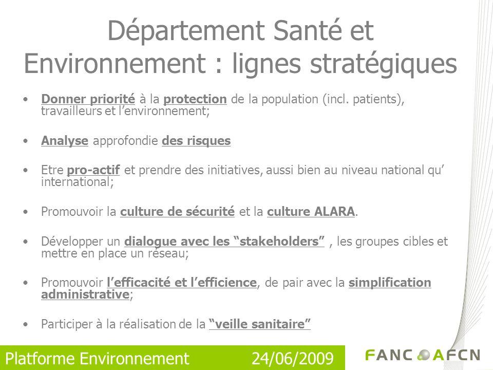 Platforme Environnement 24/06/2009 Donner priorité à la protection de la population (incl.