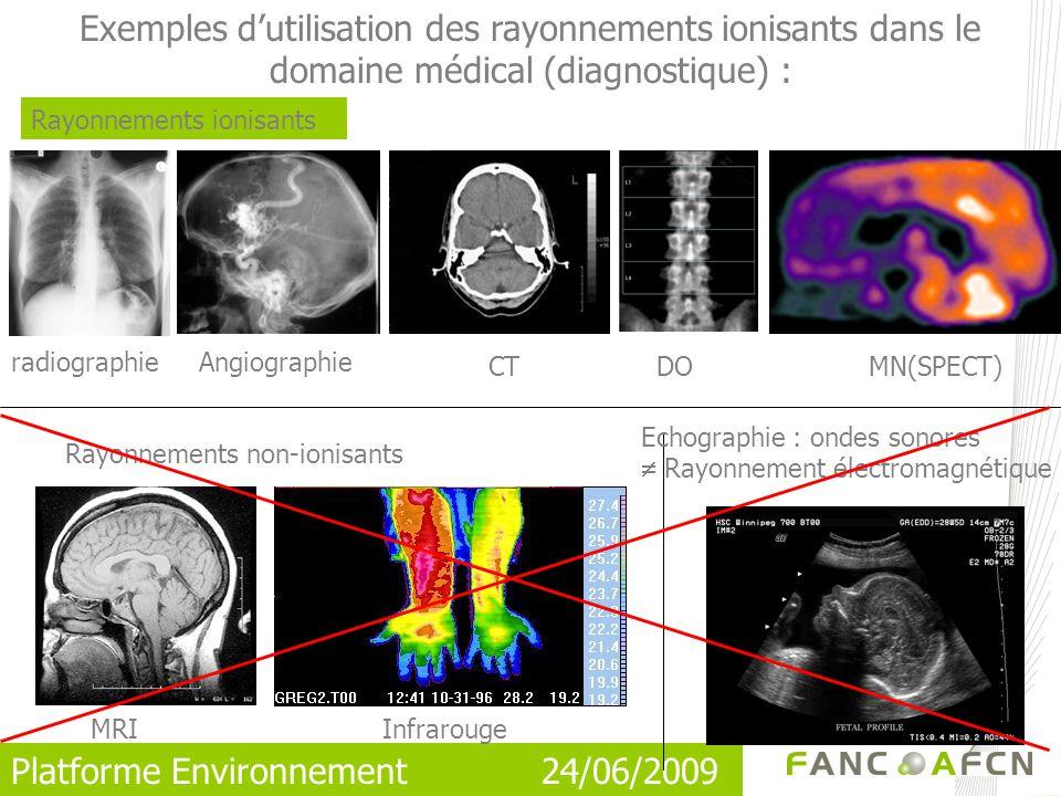 Platforme Environnement 24/06/2009 Exemples dutilisation des rayonnements ionisants dans le domaine médical (diagnostique) : Rayonnements ionisants Rayonnements non-ionisants radiographie CTDO Echographie : ondes sonores Rayonnement électromagnétique MN(SPECT) MRI Infrarouge Angiographie