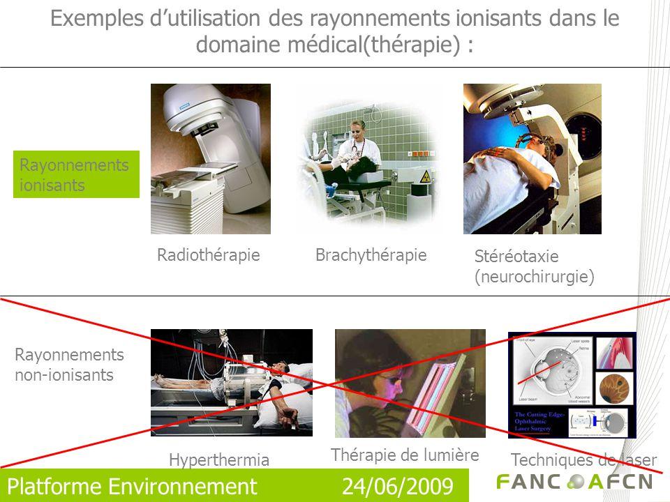 Platforme Environnement 24/06/2009 Exemples dutilisation des rayonnements ionisants dans le domaine médical(thérapie) : Rayonnements ionisants Hyperthermia Techniques de laser Radiothérapie Thérapie de lumière Rayonnements non-ionisants Brachythérapie Stéréotaxie (neurochirurgie)