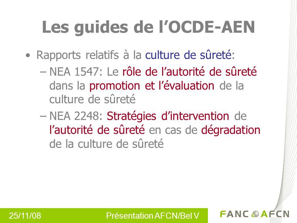 25/11/08 Présentation AFCN/Bel V Les guides de lOCDE-AEN Rapports relatifs à la culture de sûreté: –NEA 1547: Le rôle de lautorité de sûreté dans la p