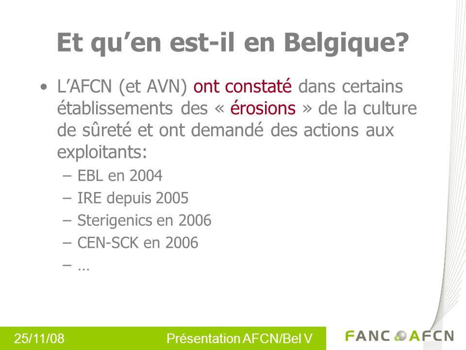 25/11/08 Présentation AFCN/Bel V Et quen est-il en Belgique? LAFCN (et AVN) ont constaté dans certains établissements des « érosions » de la culture d