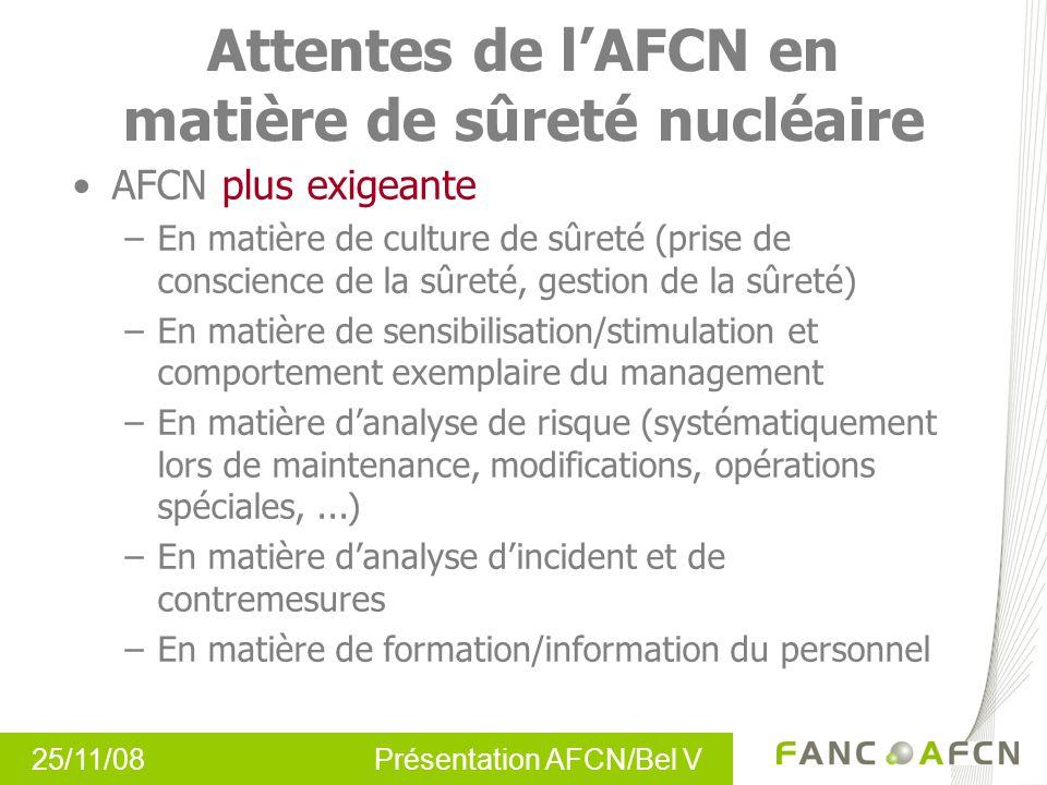 25/11/08 Présentation AFCN/Bel V Attentes de lAFCN en matière de sûreté nucléaire AFCN plus exigeante –En matière de culture de sûreté (prise de consc