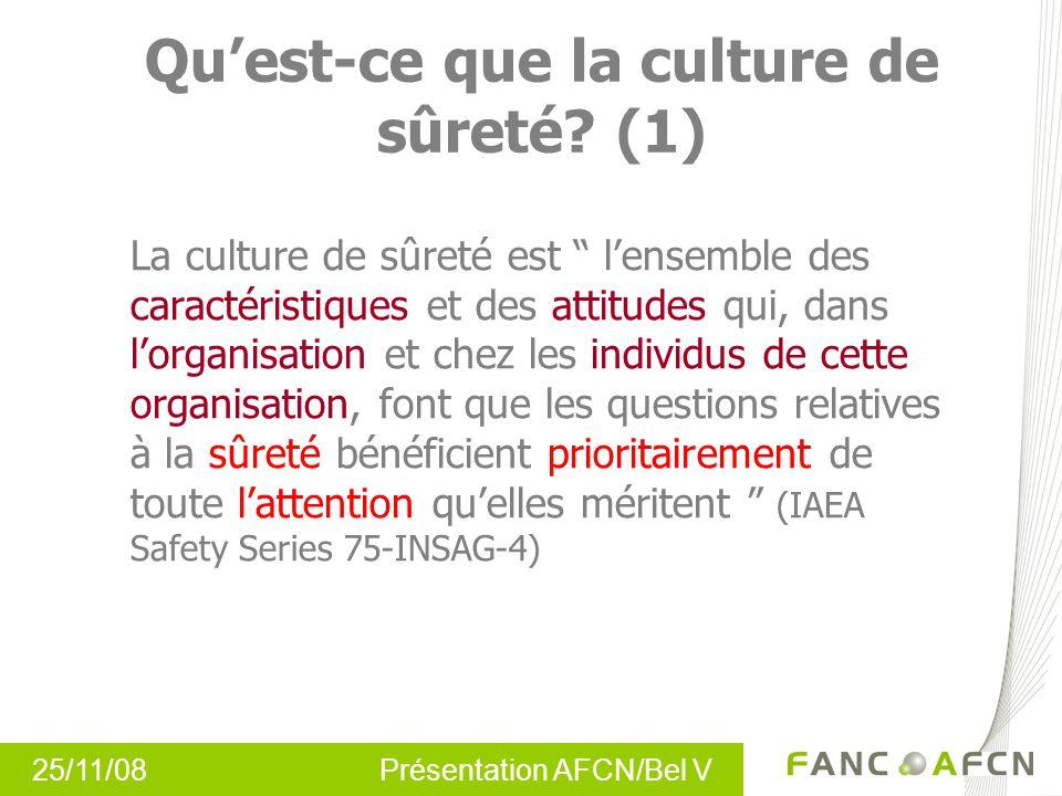 25/11/08 Présentation AFCN/Bel V Quest-ce que la culture de sûreté? (1) La culture de sûreté est lensemble des caractéristiques et des attitudes qui,