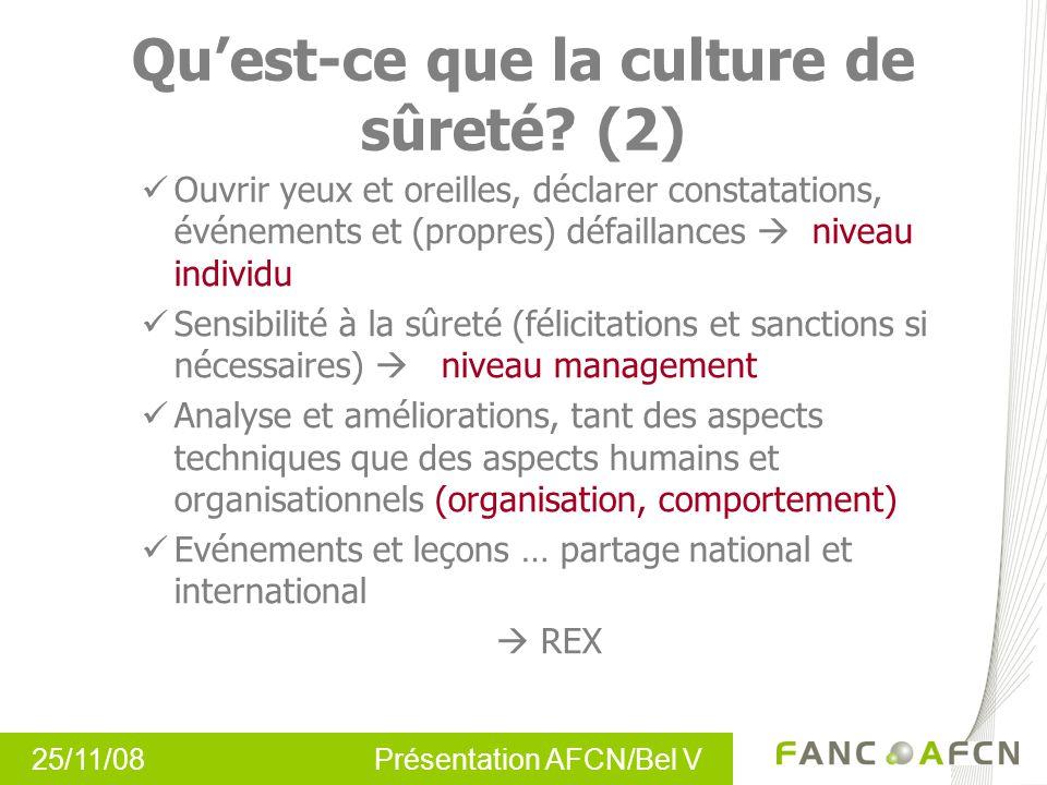 25/11/08 Présentation AFCN/Bel V Quest-ce que la culture de sûreté.