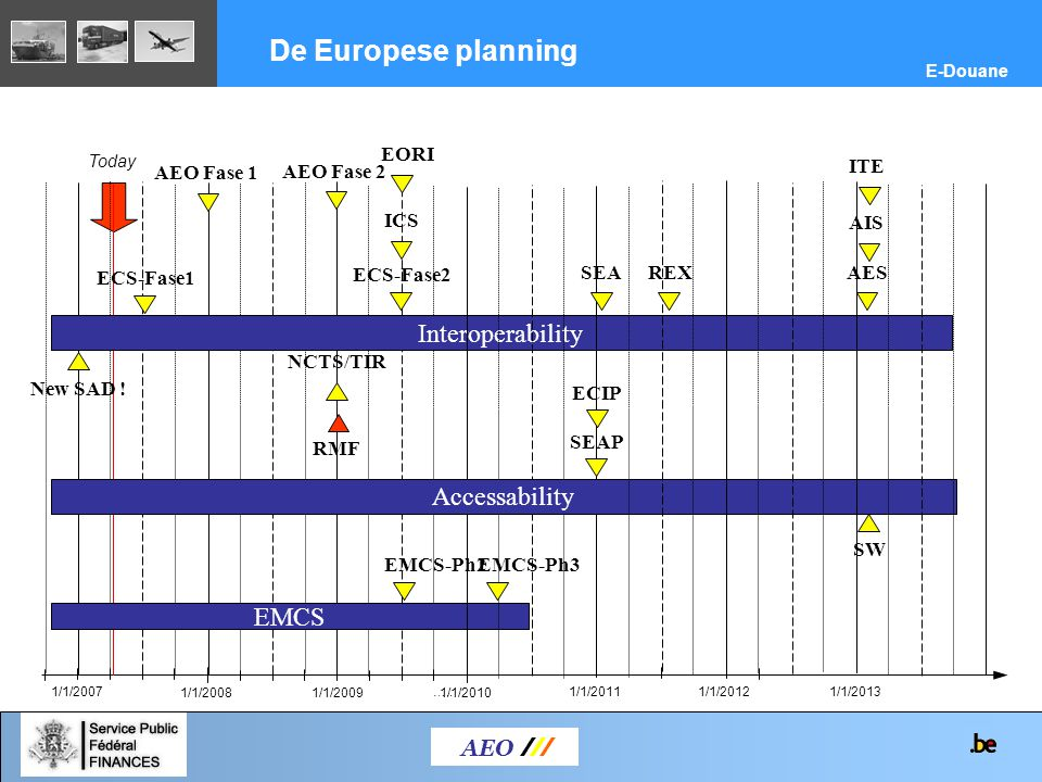 AEO /// De Europese planning E-Douane 1/1/2007….. Today 1/1/20101/1/20091/1/2008 EMCS Interoperability ECS-Fase1 1/1/2011 ICS Accessability AES ECIP S