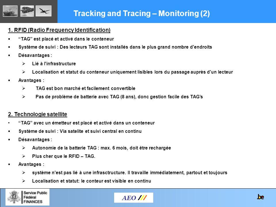 AEO /// 1. RFID (Radio Frequency Identification) TAG est placé et activé dans le conteneur Système de suivi : Des lecteurs TAG sont installés dans le