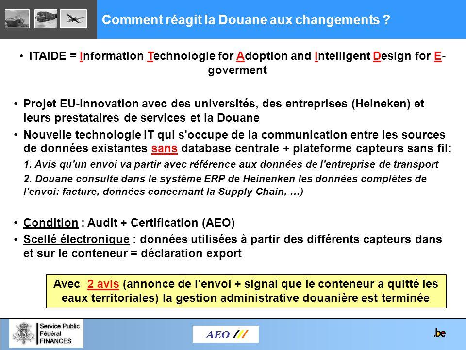 AEO /// Comment réagit la Douane aux changements ? ITAIDE = Information Technologie for Adoption and Intelligent Design for E- goverment Projet EU-Inn