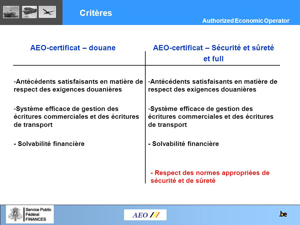 COMPACT = COMpliance and PArtnership between Customs and Trade 2 Parties –Méthode de risk assessment –Catalogue d indicateurs de risques (Guidelines) AEO /// Authorized Economic Operator Cadre COMPACT