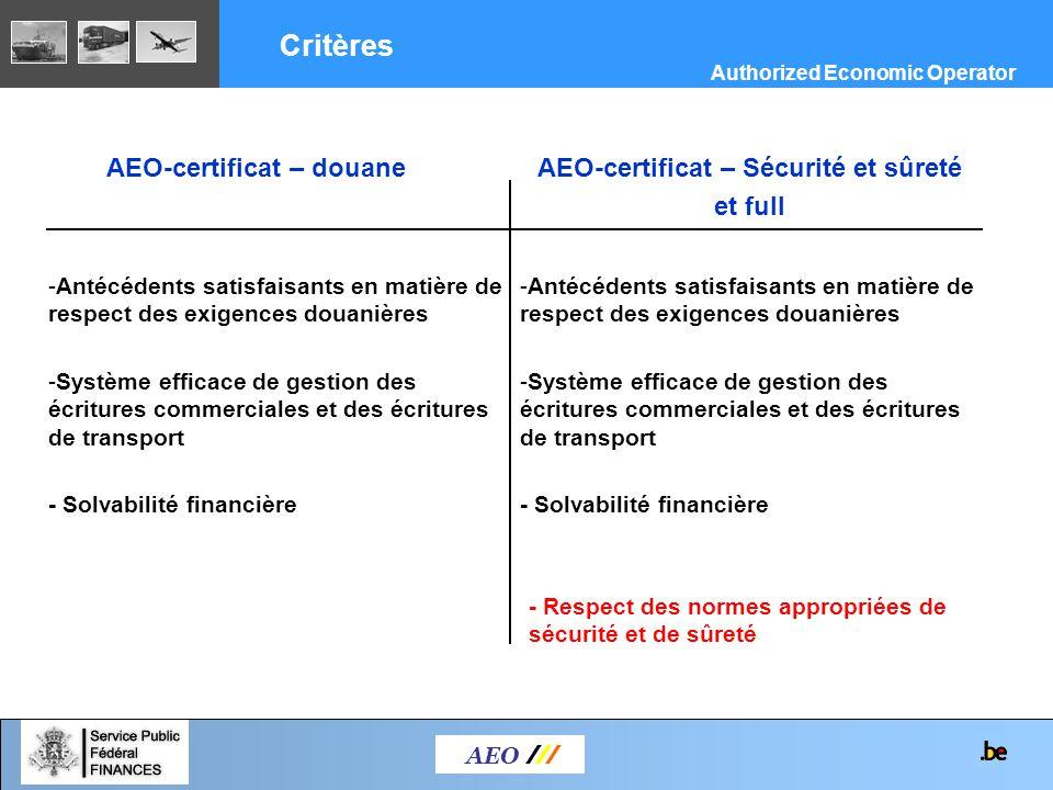 AEO-certificat – douane AEO /// Critères AEO-certificat – Sécurité et sûreté et full -Antécédents satisfaisants en matière de respect des exigences do