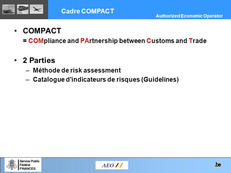 COMPACT = COMpliance and PArtnership between Customs and Trade 2 Parties –Méthode de risk assessment –Catalogue d'indicateurs de risques (Guidelines)