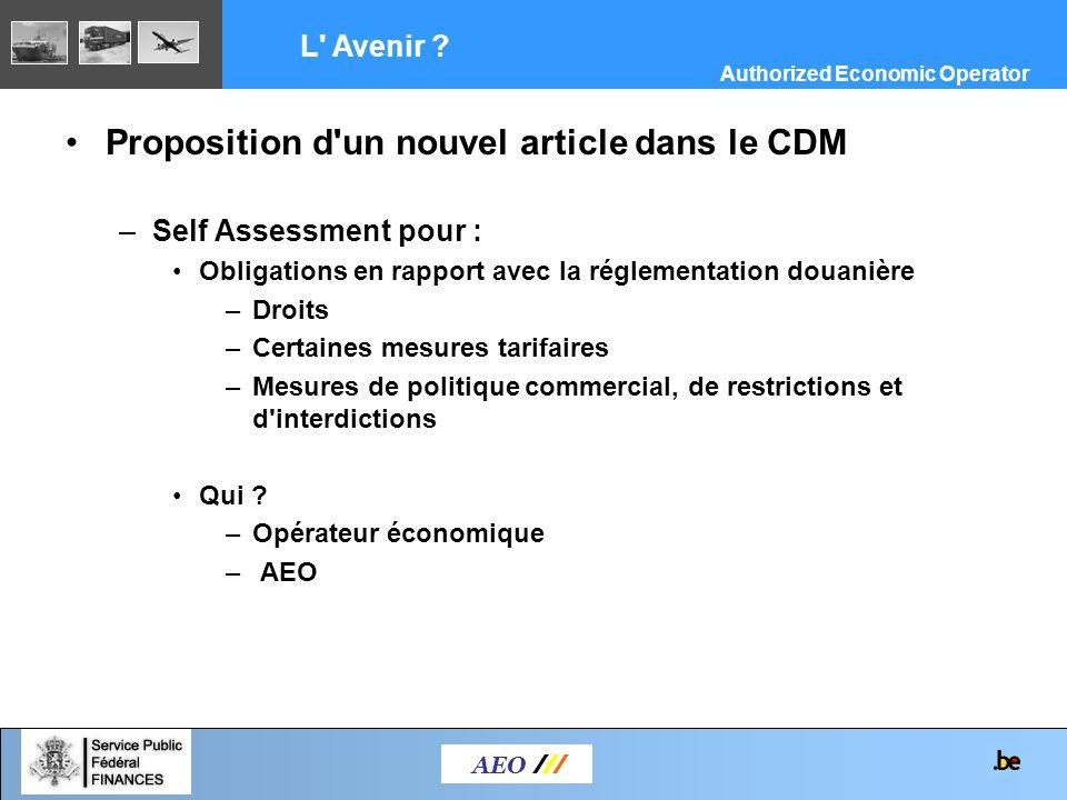 Proposition d'un nouvel article dans le CDM –Self Assessment pour : Obligations en rapport avec la réglementation douanière –Droits –Certaines mesures
