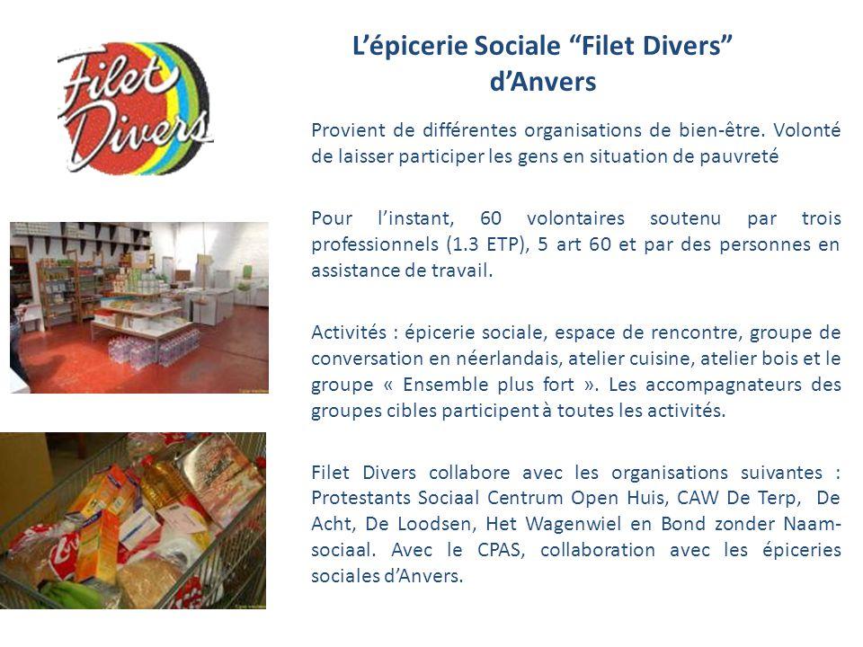 Lépicerie Sociale Filet Divers dAnvers Provient de différentes organisations de bien-être. Volonté de laisser participer les gens en situation de pauv