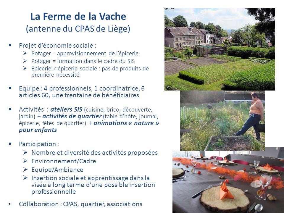 La Ferme de la Vache (antenne du CPAS de Liège) Projet déconomie sociale : Potager = approvisionnement de lépicerie Potager = formation dans le cadre