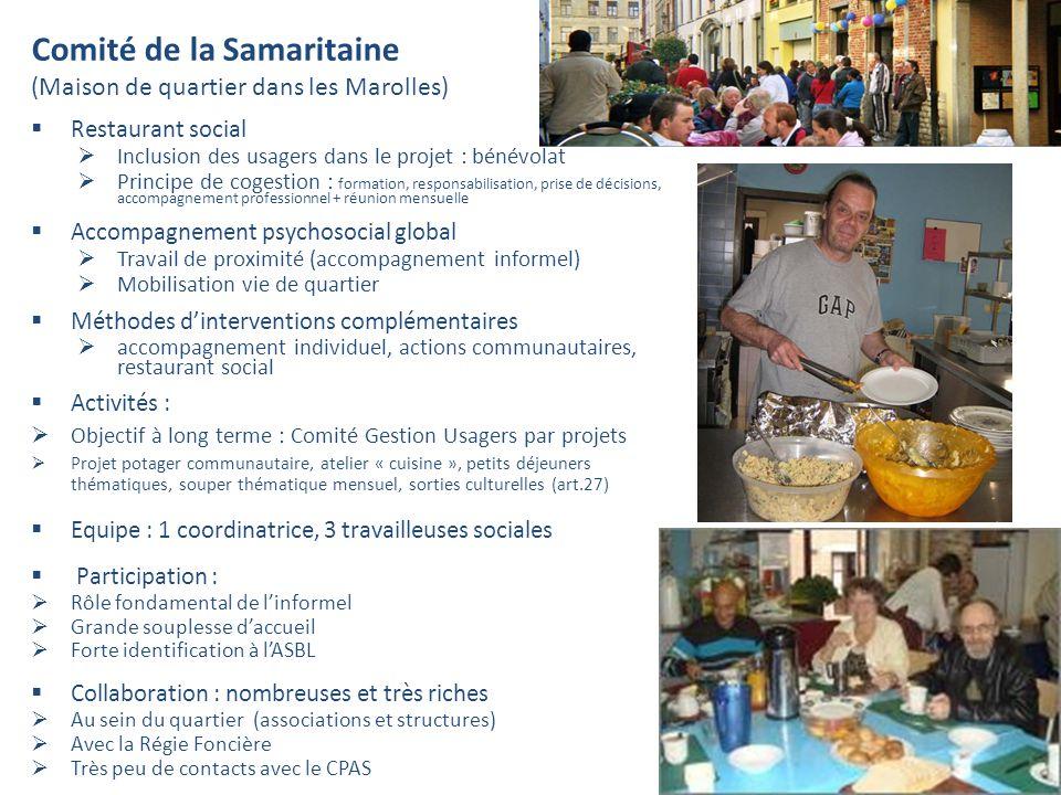Comité de la Samaritaine (Maison de quartier dans les Marolles) Restaurant social Inclusion des usagers dans le projet : bénévolat Principe de cogesti
