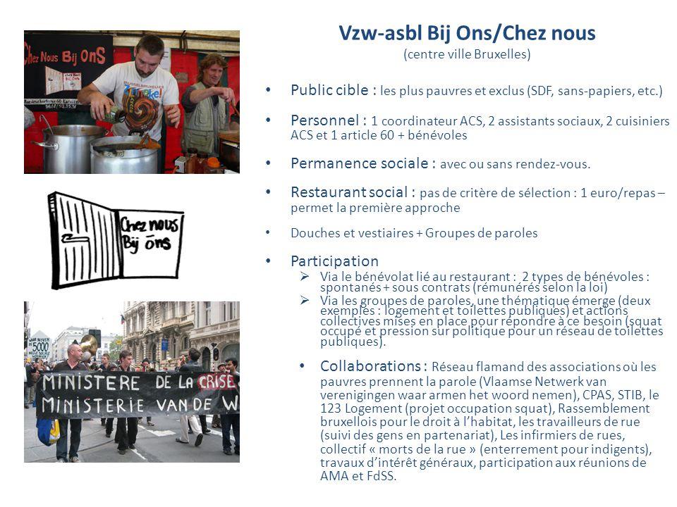 Vzw-asbl Bij Ons/Chez nous (centre ville Bruxelles) Public cible : les plus pauvres et exclus (SDF, sans-papiers, etc.) Personnel : 1 coordinateur ACS