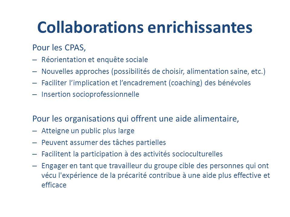 Collaborations enrichissantes Pour les CPAS, – Réorientation et enquête sociale – Nouvelles approches (possibilités de choisir, alimentation saine, et