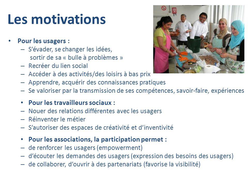 Les motivations Pour les usagers : – Sévader, se changer les idées, sortir de sa « bulle à problèmes » – Recréer du lien social – Accéder à des activi
