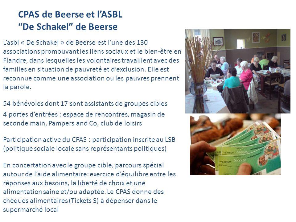 CPAS de Beerse et lASBL De Schakel de Beerse Lasbl « De Schakel » de Beerse est lune des 130 associations promouvant les liens sociaux et le bien-être