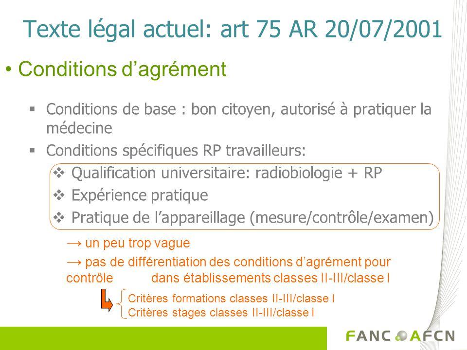 Texte légal actuel: art 75 AR 20/07/2001 Conditions de base : bon citoyen, autorisé à pratiquer la médecine Conditions spécifiques RP travailleurs: Qu