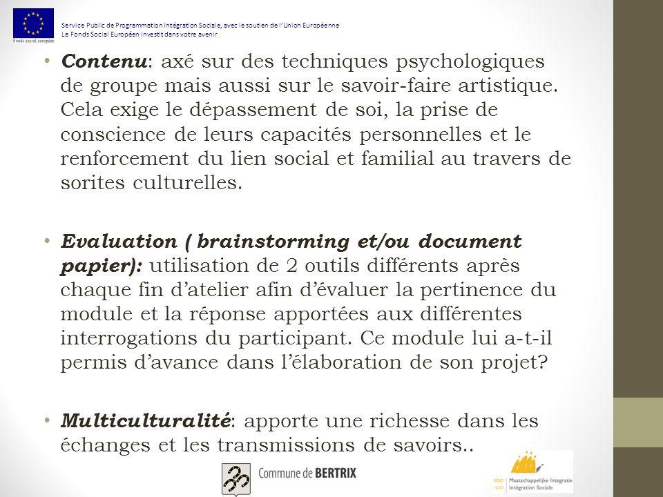 Contenu : axé sur des techniques psychologiques de groupe mais aussi sur le savoir-faire artistique.